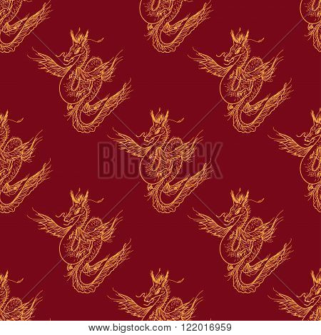 Seamless pattern with magic fly dragon