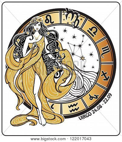 Virgo zodiac sign. Lovely female in the Greek chiton dress and flowing hair is standing with  horoscope circle and zodiac constellation. Vector illustration in retro style, Vintage , art Nouveau.