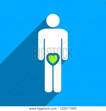 Male Love long shadow vector icon. Style is a flat male love iconic symbol on a blue square background.