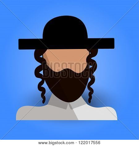 Cool and Artistic Avatar in Flat Design with a Jewish Brunette Man Black Hat Beard and Traditional Religious Ethnic Clothes for Business App and Web Design