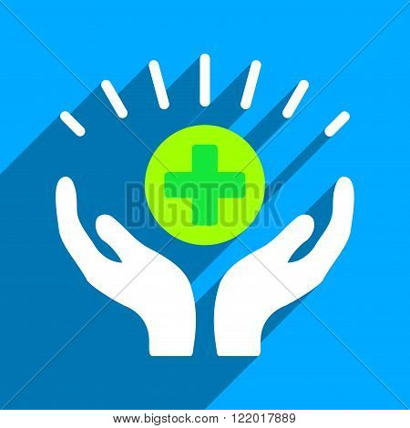 Medical Prosperity long shadow vector icon. Style is a flat medical prosperity iconic symbol on a blue square background.