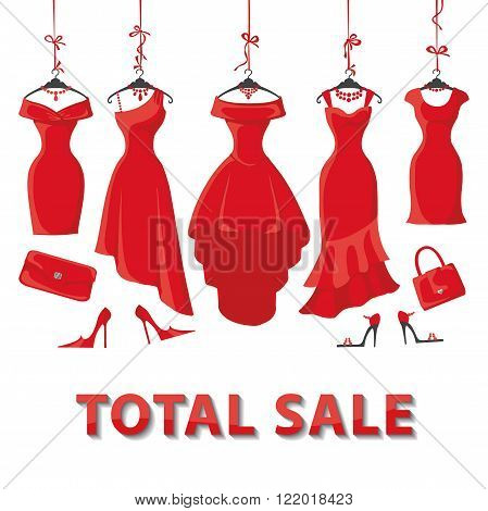 Red Woman dresses on a hanger and fashion accessories set.Summer sale party. Short and long elegant design lady dress, handbags, shoes collection.Vector art image illustration, background, template