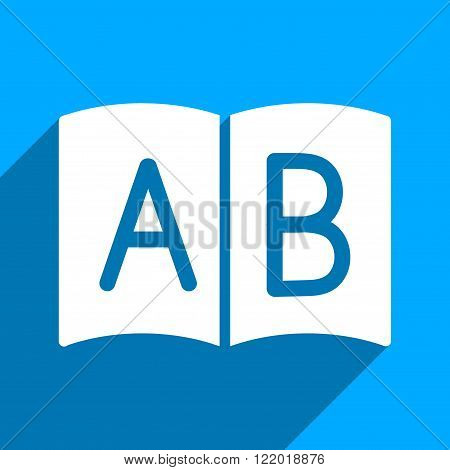 Open Handbook long shadow vector icon. Style is a flat open handbook iconic symbol on a blue square background.