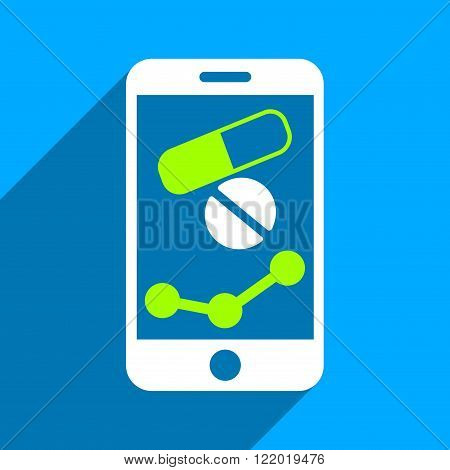 Pharmacy Mobile Chart long shadow vector icon. Style is a flat pharmacy mobile chart iconic symbol on a blue square background.