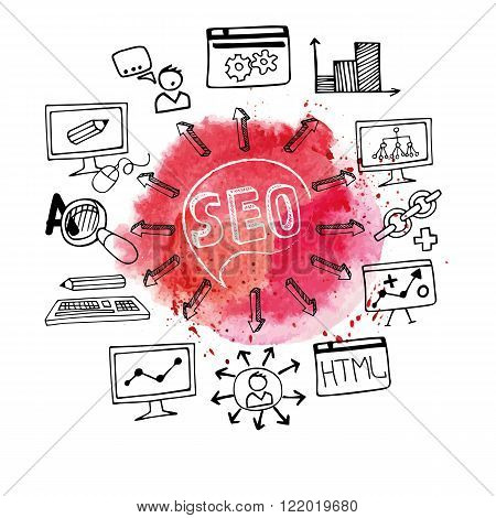 Doodle hand draw scheme main activities related to seo with sketchy icon, Watercolor red stein background.Business concept .Vector illustration
