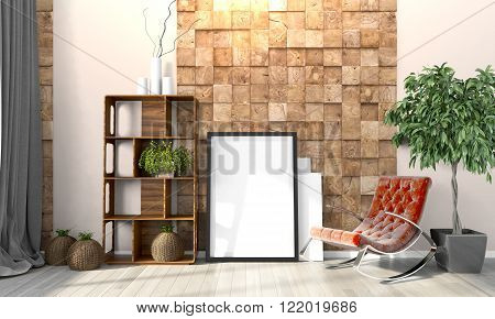Modern bright interior . 3D render