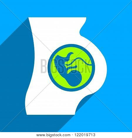 Pregnancy Anatomy long shadow vector icon. Style is a flat pregnancy anatomy iconic symbol on a blue square background.