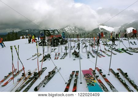 Jasna LIPTOV SLOVAKIA - MARCH 06 2016: Ski on the event in slovakian ski resort Jasna in Low Tatras.