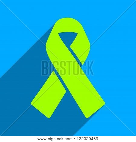 Solidarity Ribbon long shadow vector icon. Style is a flat solidarity ribbon iconic symbol on a blue square background.