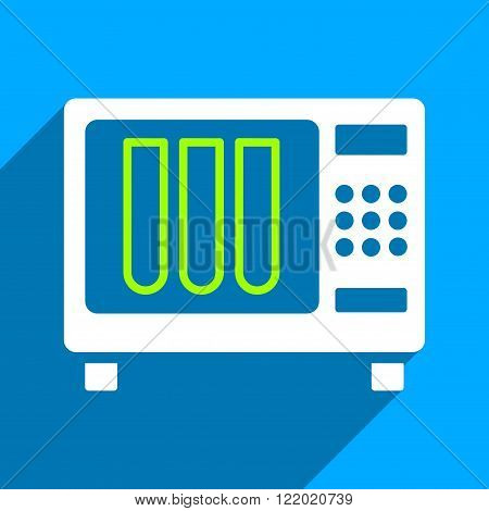 Sterilizer long shadow vector icon. Style is a flat sterilizer iconic symbol on a blue square background.