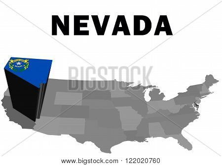 Outline map of the United States with the state of Nevada raised and highlighted with the state flag