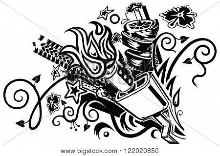 An eclectic tattoo-like vector graphic illustration clip art element featuring a car muffler and assorted floral botanical tribal automotive splatter flame and geometric elements bursting forth from a point to the lower right of the composition.