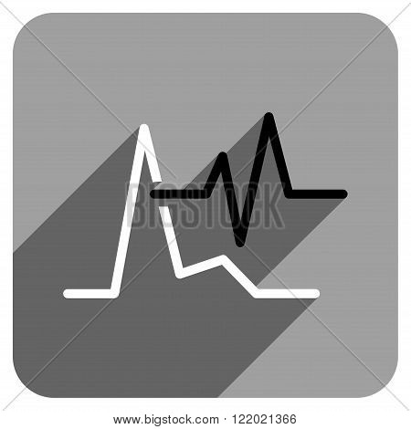 ECG long shadow vector icon. Style is a flat ecg iconic symbol on a gray square background.
