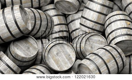 Pile of wooden barrels in close-up