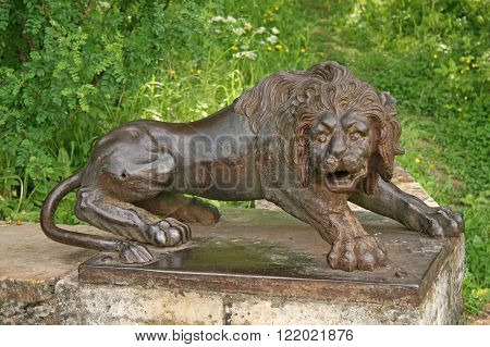 Iron Lion At The Large Stone Stairs In The Pavlovsk Palace Park. Pavlovsk, Russia
