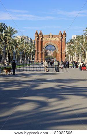Barcelona, Catalonia, Spain - December 12, 2011: Park Ciutadella And Arc De Triomf In Barcelona