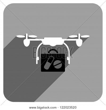 Medical Drone Shipment long shadow vector icon. Style is a flat medical drone shipment iconic symbol on a gray square background.
