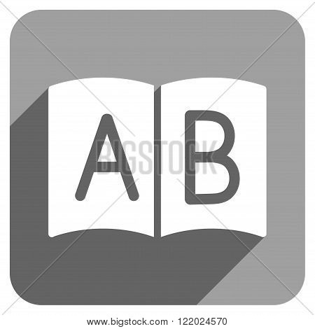 Open Handbook long shadow vector icon. Style is a flat open handbook iconic symbol on a gray square background.