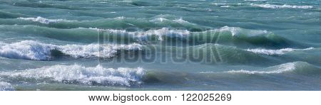 Winter waves in Lake Michigan as the ice thawed