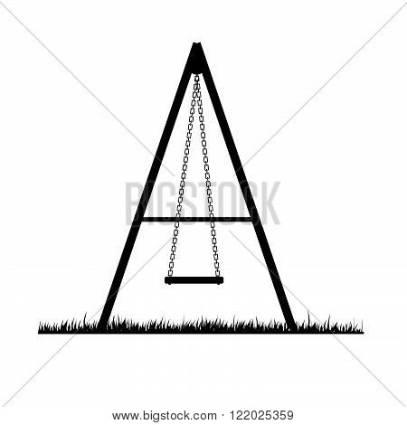 swing black art illustration with black grass