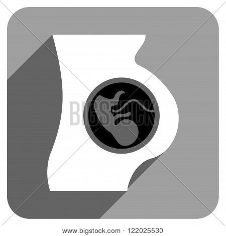 Pregnancy Anatomy long shadow vector icon. Style is a flat pregnancy anatomy iconic symbol on a gray square background.