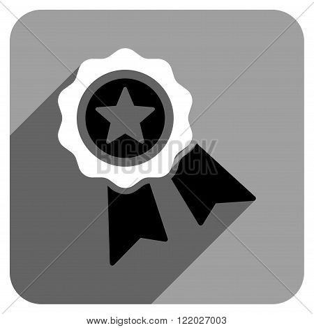 Star Quality Seal long shadow vector icon. Style is a flat star quality seal iconic symbol on a gray square background.