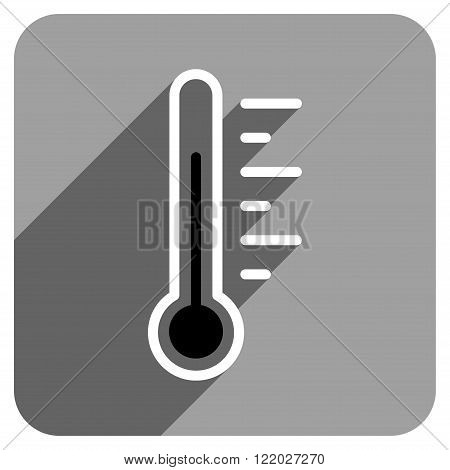 Temperature Level long shadow vector icon. Style is a flat temperature level iconic symbol on a gray square background.