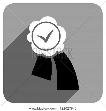 Validation Seal long shadow vector icon. Style is a flat validation seal iconic symbol on a gray square background.