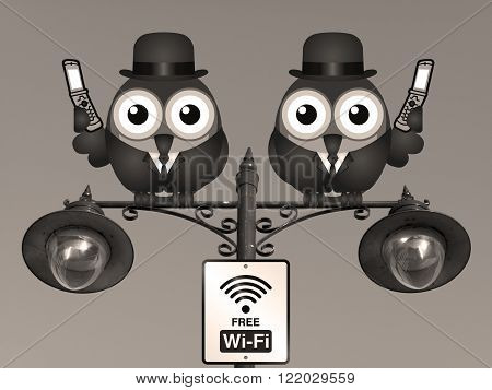 Sepia comical birds on their mobile phone utilising free Wi Fi perched on a lamppost