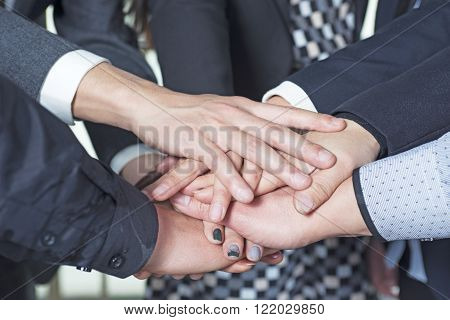 closeup hand business team. Concept of business people