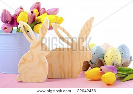 Happy Easter Wooden Bunnies