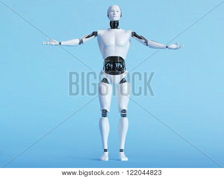 A male robot with his arms outstretched in a welcoming pose image 1. Blue background.