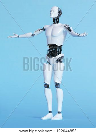 A male robot with his arms outstretched in a welcoming pose image 2. Blue background.