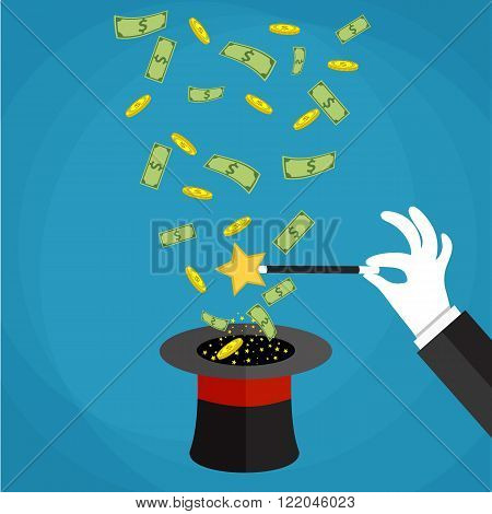 Money out the hat magic trick concept. Hand with white glove holding magic wand with flying money above a hat. Vector illustration in flat design on green background