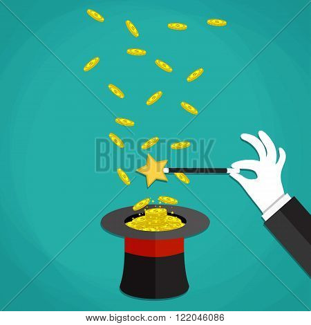 Money in the hat magic trick concept. Hand with white glove holding magic wand with flying money above a hat. Vector illustration in flat design on green background