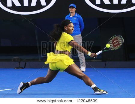 MELBOURNE, AUSTRALIA - JANUARY 30, 2016: Twenty one times Grand Slam champion Serena Williams in action during her final match at Australian Open 2016 at Australian tennis center in Melbourne Park