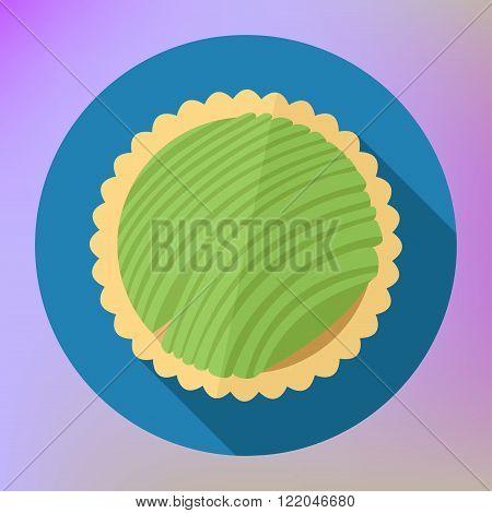 Kiwi fruit cupcake top view flat