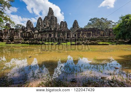 Siem Reap, Cambodia, 13 Nov 2015: Bayon Temple was built as the official state temple of the Mahayana Buddhist King Jayavarman VII.