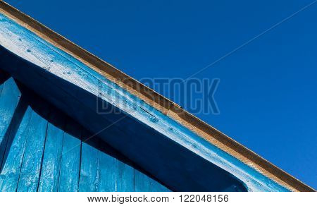 Blue Wood Roof And Clear Sky