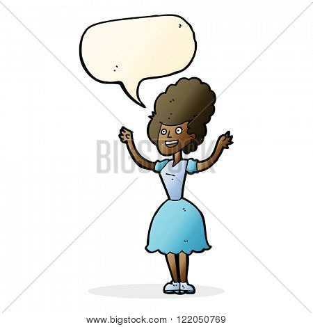 cartoon happy 1950's woman with speech bubble