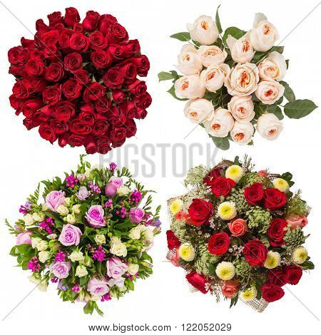 Top view of four colorful flower bouquets