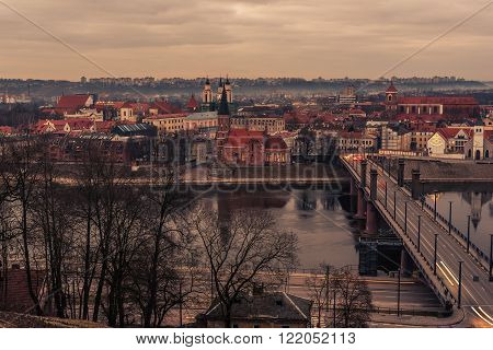 Kaunas, Lithuania: Old Town in the beautiful sunset of early spring.