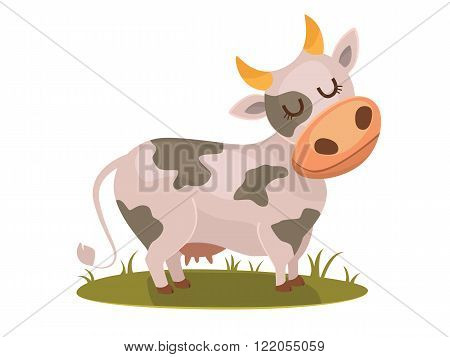 Isolated funny cow on white background, vector character.