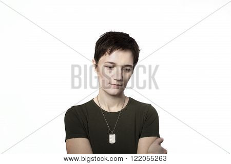 war woman with weapon isolated on the white