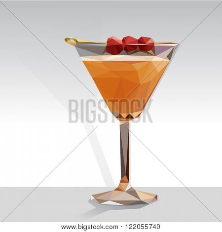 Low poly vector orange cocktail