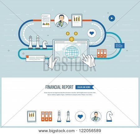 Concepts for business analysis and planning, financial strategy and report, consulting, teamwork, project management. Investment business. Financial report icons isolated. Financial report concept.