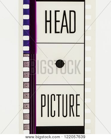Film strip countdown section on 35mm film