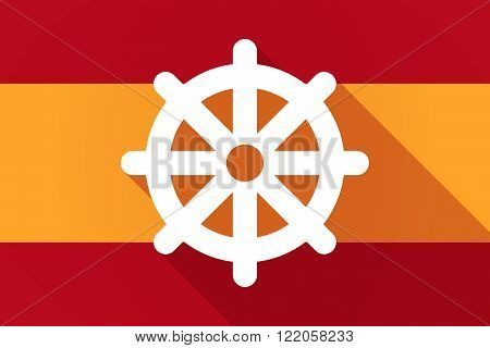 Spain  Long Shadow Flag With A Dharma Chakra Sign