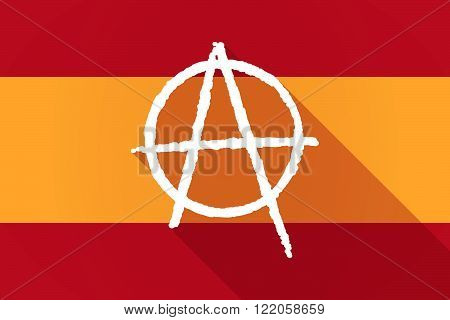 Spain  Long Shadow Flag With An Anarchy Sign