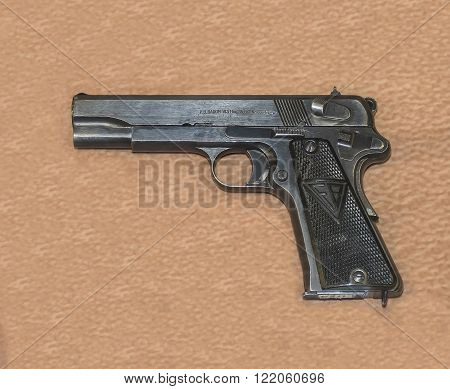 MOSCOW RUSSIA- DECEMBER 16- 9-mm military pistol VIS sample 35 (Poland)1935 at the Central Museum of the armed forces on December 16; 2015 in Moscow